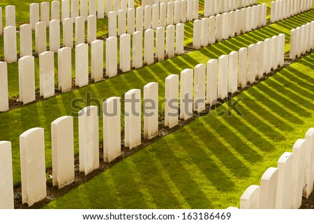 Tyne Cot Cemetery in Ypres world war belgium flanders - stock photo