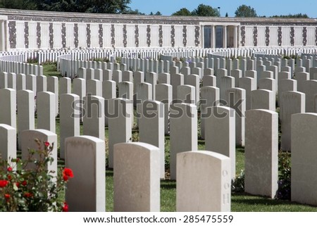 Tyne Cot World War One Cemetery, the largest British War cemetery in the world in Passendale, Belgium