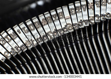 Type bars of typewriter - stock photo