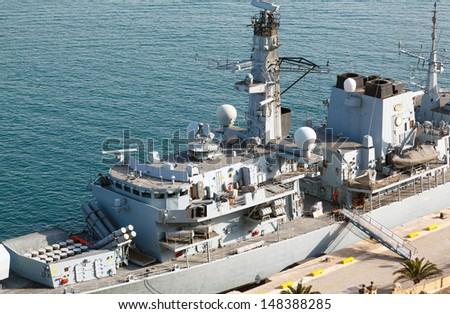 Type 23 frigate in the Malta Grand Harbor - stock photo