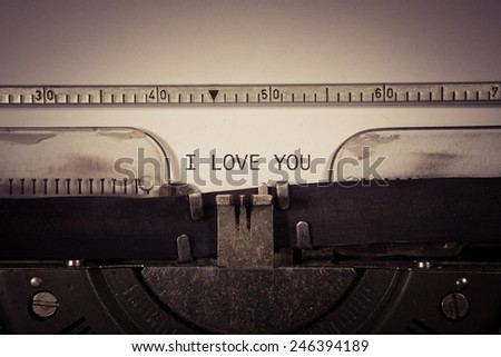 type writer with text I Love you in old style - stock photo