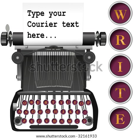 Type your copy on the copyspace paper in this vintage, antique typewriter illustration background. - stock photo