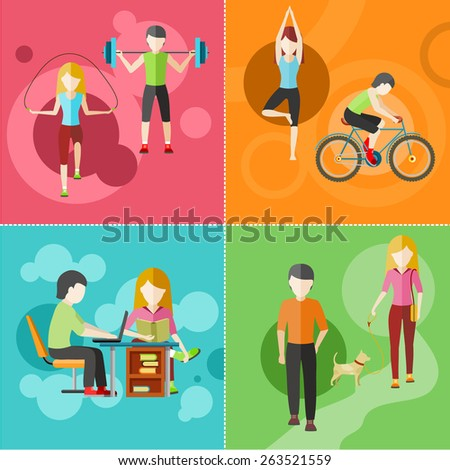 Types of activity. High, normal, low and average active. Healthy lifestyles daily routine tips stick figure in flat design style on four multicolor banners. Raster version - stock photo