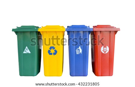 types of rubbish, separated by its color, Rubbish Bin (Green), recyclable waste (Yellow) general waste (Blue), hazardous waste (Red) - stock photo