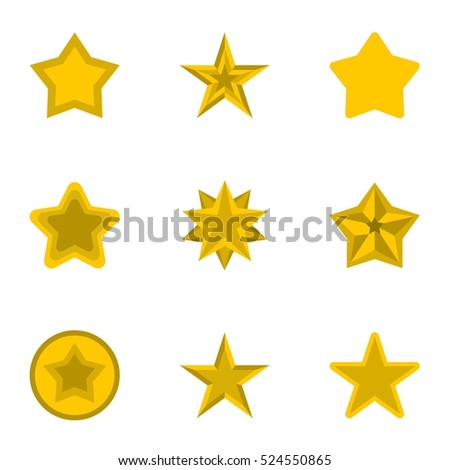 Types of stars icons set. Flat illustration of 9 types of stars  icons for web
