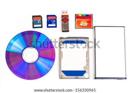 Types of storage devices, external and internal isolated on white - stock photo
