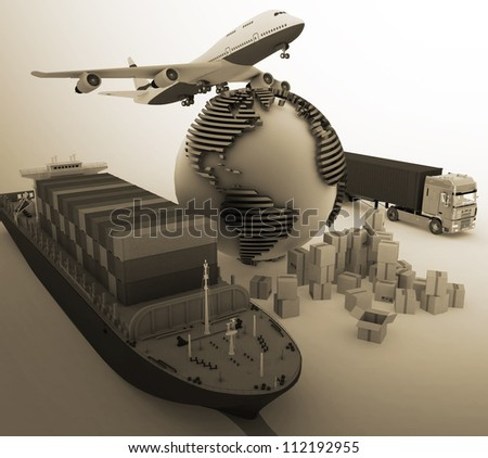 types of transport of transporting are loads. - stock photo