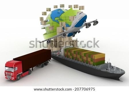 types of transport of transporting are loads. 3d illustration on a white background - stock photo