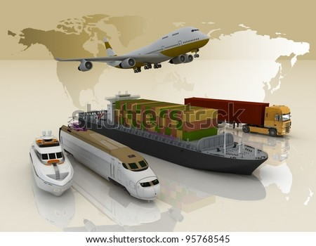 types of transport on a background map of the world - stock photo