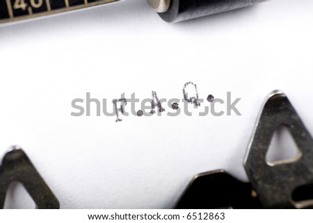 Typewriter close up shot, concept of FAQ - stock photo