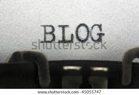 Typewriter closeup shot, concept of Blog - stock photo