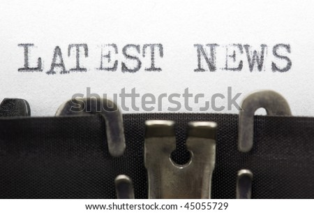 Typewriter closeup shot, concept of Latest news - stock photo