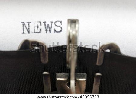 Typewriter closeup shot, concept of News - stock photo