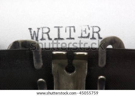 Typewriter closeup shot, concept of writer - stock photo