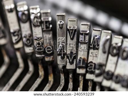 Typewriter/ Closeup view of old typewriter keys - stock photo