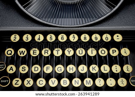 Typewriter. 3D. Keys And Letters - stock photo