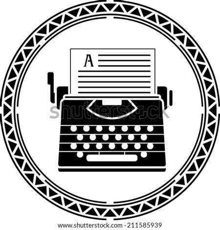 typewriter. first variant. raster version - stock photo