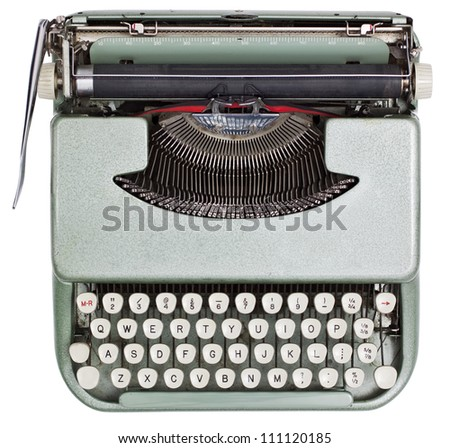 Typewriter from above isolated on white background with clipping path - stock photo