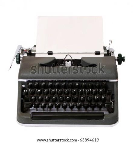 typewriter isolated on white - stock photo