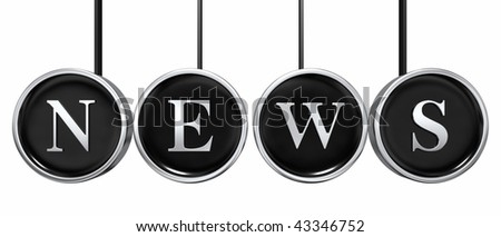 Typewriter keys spelling out the word NEWS with connecting rods on white - stock photo