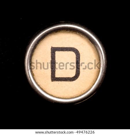 Typewriter letter D - stock photo