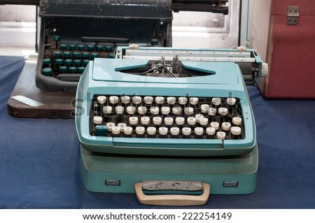 typewriter. Mid century retro typewriter. - stock photo