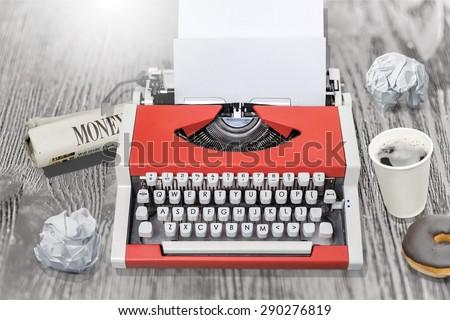 Typewriter, Old, Retro Revival. - stock photo