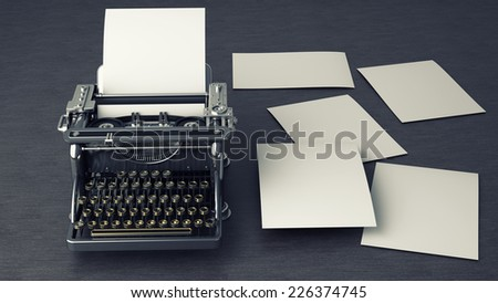 Typewriter over a wooden table. High resolution 3d render  - stock photo