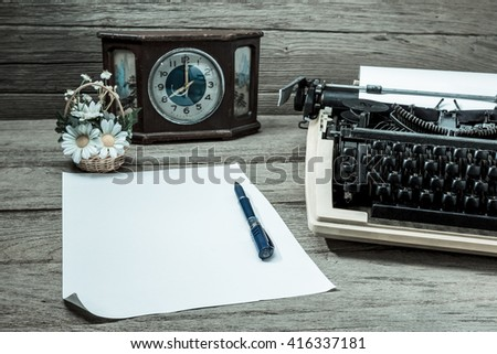 typewriter retro desktop with paper,filter effect. - stock photo