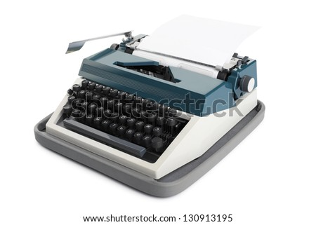 Typewriter with blank paper isolated on a white background - stock photo
