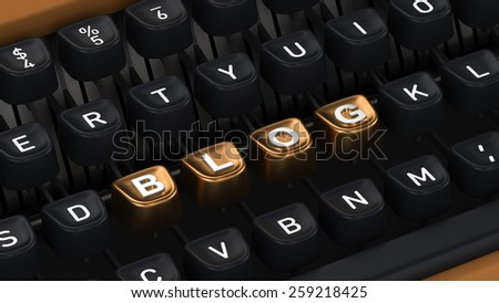 Typewriter with Blog buttons - stock photo