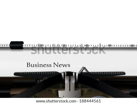 Typewriter with Business News Words - stock photo