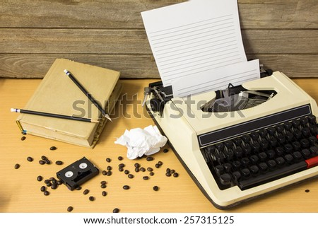 Typewriter with Coffee on working table - stock photo