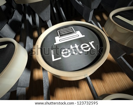 Typewriter with Letter button, vintage style - stock photo