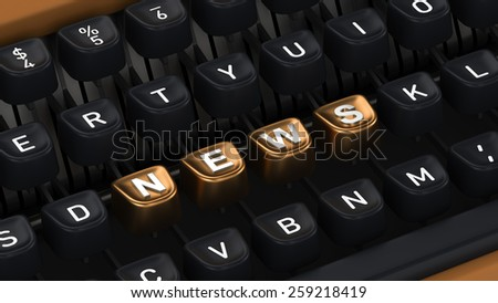 Typewriter with NEWS buttons - stock photo