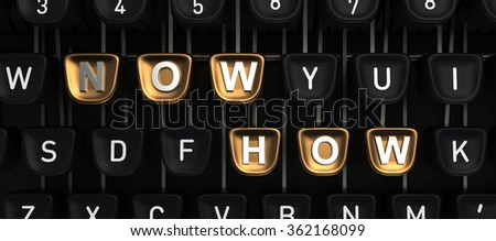 Typewriter with NOW HOW buttons - stock photo