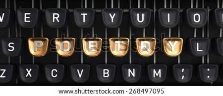 Typewriter with Poetry buttons - stock photo