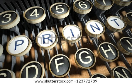 Typewriter with Print buttons, vintage style - stock photo