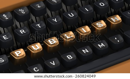 Typewriter with PUBLISH buttons - stock photo