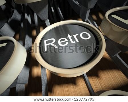 Typewriter with Retro button, vintage style - stock photo