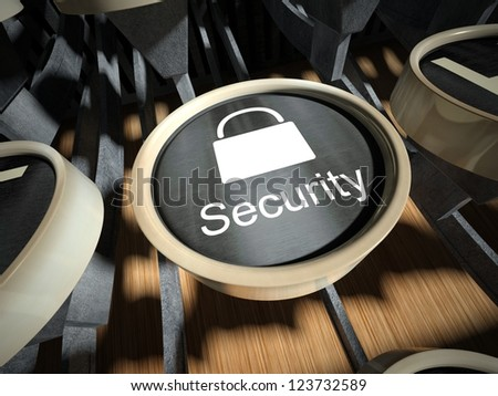 Typewriter with Security button, vintage style - stock photo