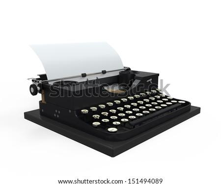 Typewriter with Sheet of Paper - stock photo