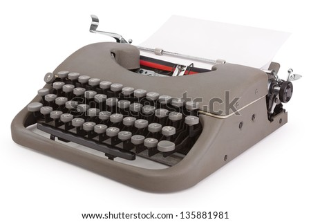 Typewriter with sheet of paper isolated on white background with clipping path