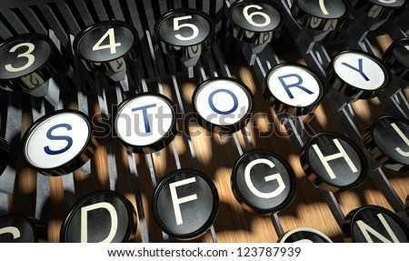 Typewriter with Story button, vintage style - stock photo