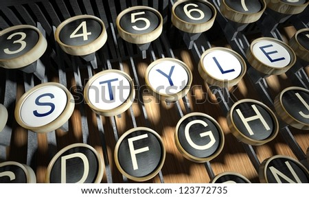 Typewriter with Style buttons, vintage - stock photo