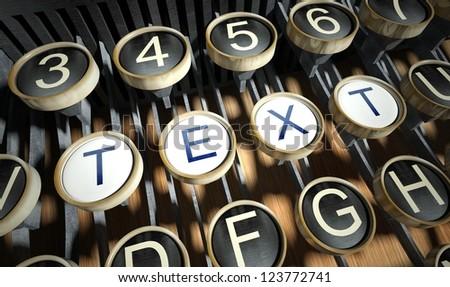 Typewriter with Text buttons, vintage style - stock photo