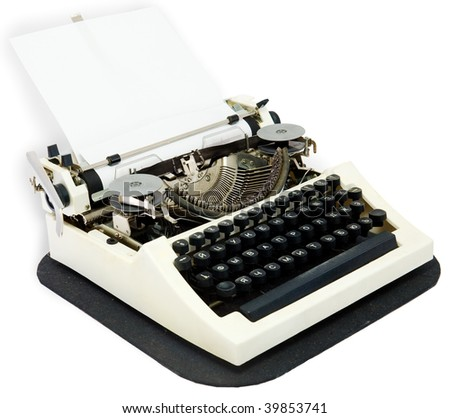 Typewriter with the inserted leaf of a paper in the carriage