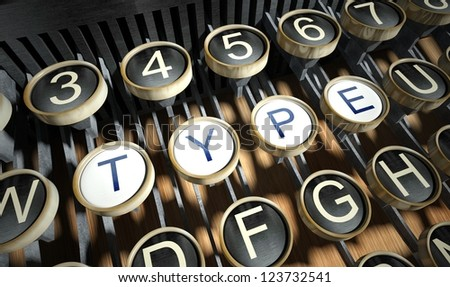 Typewriter with Type buttons, vintage style - stock photo
