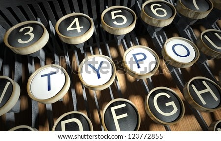 Typewriter with Typo buttons, vintage style - stock photo