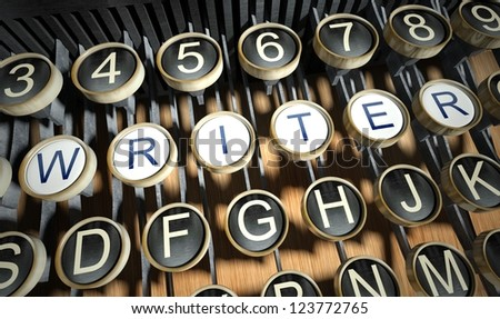 Typewriter with Writer buttons, vintage style - stock photo